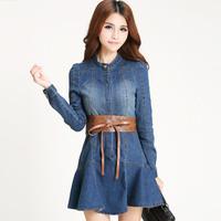 2014 new long-sleeved Korean style Slim denim dress with belt free
