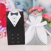 100pcs/lot Hot Sale Bride and Groom Box !!! Free Shipping 100pcs Bride and Groom Wedding Favor Boxes Gift box Candy box