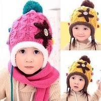 New winter Men and women Knitted Crochet Baby Hat children warm earmuffs starfish wool Hat Free shipping