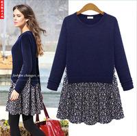 Wholesale 2xl 3xl 4xl 5xl plus size women clothings casual loose patchwork flower print 2014 autumn winter dresses black blue