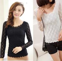Women Fashion Clothing Autumn T-shirt Lace Hollow Out T Shirt Long Sleeve Blouses Black Shirts O-neck Tshirt Tops Winter 2014