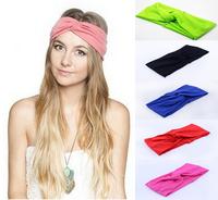 The new 2014 Twist knot headband stretch lycra turban spring ealstic hair band headbands free shipping