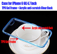 Retail Newest Fashion 0.5mm TPU Gel Frame + Acrylic anti-scratch transparent Clear Case for IPhone 6 6G 4.7 inch NO: IP602