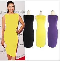 2014 New Fashion Summer Dress Women's O-Neck Sleeveless Stretch Bodycon Dress Knee-Length Party Business OL Pencil Dress S-XXL