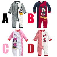 Wholesale 2014 New Autumn stripes cartoon Baby boys girls rompers 0-2 T Newborn wear cotton jumpsuits kids Infant clothing