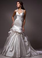 Removable stunning straps, A-line lustrous satin bride wedding dress A3542