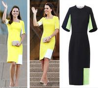 2014 New Fashion Contrast Color Patchwork Celeb Knee Length Pencil Dress Half Sleeve Square Neck Evening Party Dress