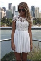 New Women Dress 2014 Fashion Lace Backless Halter Dress Embroidered Crochet Lace Stitching Beauty Casual Summer Lady Dress