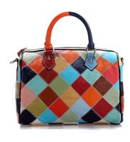 100% Real Leather Bag Plaid casual hand bag for Women patchwork genuine leather handbag Totes Shoulder messenger bag colour M126