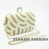Wholesale retail 2014 New fashion Cream pearl beaded rhinestone women's clutch wedding bridal evening bags