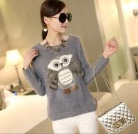 Macrotrichia 958# Fashion 2014 women's Owl pattern macrotrichia pullover sweater cardigan