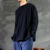 Male - original creation design black cotton long-sleeve o-neck casual loose casual lay Buddhist clothing
