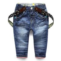 Child denim bib pants children's clothing 2014 autumn male child trousers baby double layer pants clip trousers