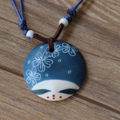 Nacional vento cerâmico do rosto de porcelana azul e branca cabeça da boneca manual de longo colar feminino literatura e arte(China (Mainland))