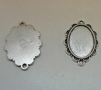 50pcs 35x24mm Inner:18*25mm  Alloy/Metal Antique Silver Blank Flower Pendant Cameo Cabochon base Setting DIY Jewelry Finding