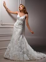 V-neck fancy appliques beaded A-line beautiful wedding dresses A3546