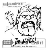 Free Shipping Cartoon Game Lol DrMundo sketch wall decals stickers decal sticker home decor decoration
