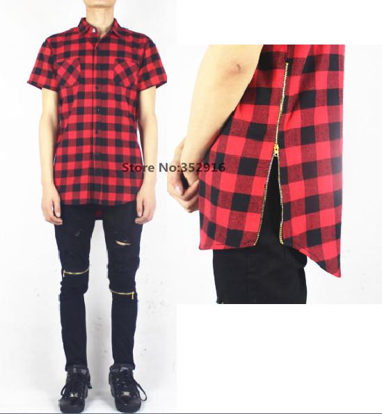 zipper única camisa xadrez de flanela preta gigante roupas de grife mens camisas vermelhas hip hop HBA yeezus capuz por via aérea foi trinado(China (Mainland))