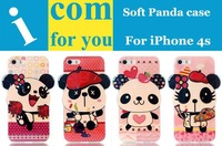 HK Post free shipping Soft TPU Silicone Cute Panda case cover for iPhone 4s 4