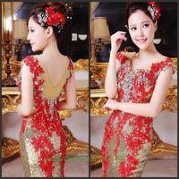 Evening dress 2014 new crystal wedding toast the bride dress vestido de noite free shipping a008