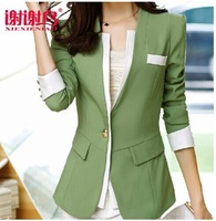 2014 New Autumn Blazer for Women Coats Feminino Jackets Formal Lady Suit Office Work Wear Formal Top Army green,Pink,Purple