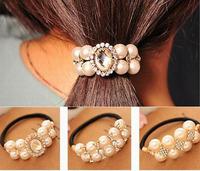 SCF027 New Fashion Korean Pearl Hair Accessories Elastic Hairbands Crystal Wedding Hairpins