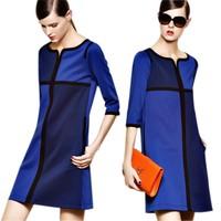 Plus size office dress 2014 loose casual dresses elegant patchwork color block three quarter sleeve straight autumn winter dress