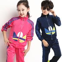 Children's clothing female child autumn 2014 child sports baby clothes child velvet set