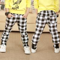 Free shipping 2014 autumn plaid boys clothing girls clothing fleece trousers casual pants kz-1185