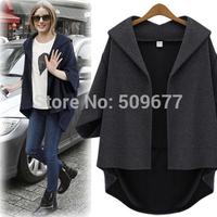 Autumn fashion women's 2014 medium-long batwing sleeve cardigan wool outerwear wool coat loose cloak