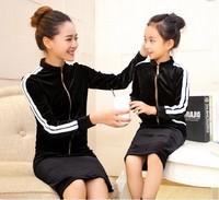 Autumn Fashion velvet material jacket+short skirt Mother and Daughter Family clothing set