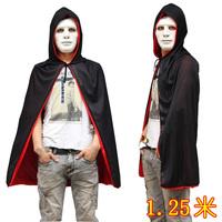 Free shipping Halloween Masquerade Costume White Mask Black-Sided Vampire Cloak 1.25m Grim Reaper Devil Cloak - Cloak