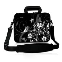 "White Flower 13"" Laptop Carrying Bag Sleeve Case Cover w/Side Pocket+Shoulder Strap For 13.3"" Apple Macbook Pro, Air Free ship"