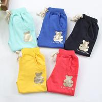 Free shipping 2014 autumn bronzier bear boys girls clothing child long trousers casual pants kz-3215