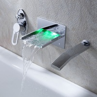 Water Tap Bathroom Faucets Wall Mounted Waterfall Torneira Chrome Basin Faucet New L-23 Mixer Vanity Vessel Sinks Mixers Taps