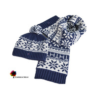 New Autumn and Winter European and American Children Scarf Hats Sets  Jacquard Cotton Kids Knitted Quality Scarf Two-piece Sets