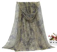 Oumeina Fashion Accessory Woman Scarf:blend voile fabric printed with new version cashew Muslim Arabic hijab shawl warp WJ140