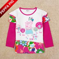 2015 New Nova Kids Girl Peppa Pig Clothing Embroidery Pepa Pig Baby Girls Long Sleeve Letter Flowers T-shirts Tees Drop Shipping