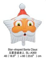2014 new 100% high quality 10pcs stars Santa Claus Cartoon Decoration theme foil balloon Christmas Children's toy balloon