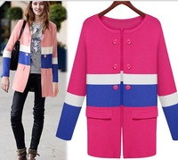 After the split fake pocket knit cardigan, long-sleeved sweater coat long paragraph, spell color knit tops in Europe and America