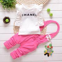 wholesale 4set/lot gril's clothes ,long sleeve letter t-shirt suspendres 2pcs set baby clothes ,princess kids clothes