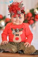 wholesale 5set/lot gril's clothes long sleeve t-shirt leopard pants 2pcs set baby clothes ,christmas kids clothes