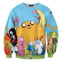 Harajuku 2014 Autumn new Women Sweatshirts Pullover For Lovers Men Print Cartoon Adventure time Sweater Spring Casual Top S-G24