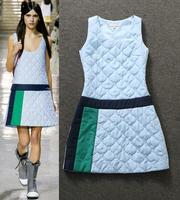 Best Quality New Fashion Runway Winter Dress Women Cotton Parka Warm Dress Slim Fitted Sleeveless Dress Blue Cotton Blend Dress