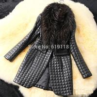 The new women's winter fur large raccoon fur collar simulation Piga cotton long section of thick fur coat women
