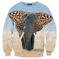 New 2014 men / women's winter autumn pullover stylish hoodies 3d print animal face Africa elephant sweatshirts S-G19