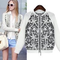 Jaquetas Femininas 2014 Long Sleeve O-Neck Lace Patchwork Zipper Fashion Autumn Jacket Women Coat 961