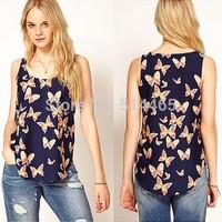[Amy] 2014 new style women Sleeveless T-shirt chiffon Butterfly print women's t shirt  tops size S M L