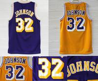 Free Shipping Los Angeles 32 Earvin Johnson Jersey, Cheap Basketball Jerseys Magic Johnson VINTAGE MESH Embroidery Logos, S-XXL