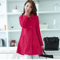 2014 Autumn Winter Casacos Femininos Solid Pocket Double Breasted Blends Long Sleeve Fashion Women Woolen Coat 818